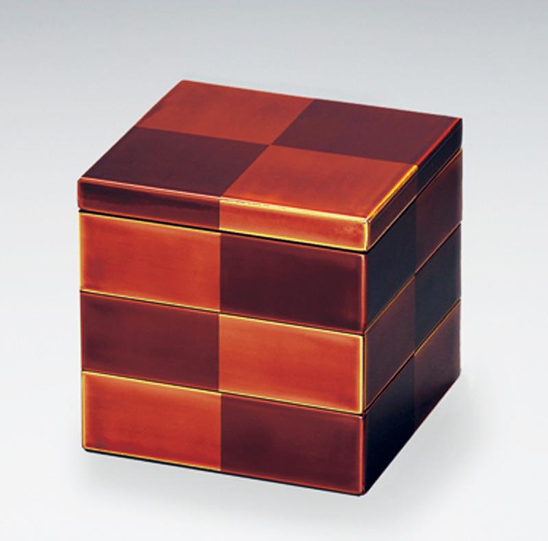 越前塗 市松白檀姫重箱 日本の伝統工芸 三段重