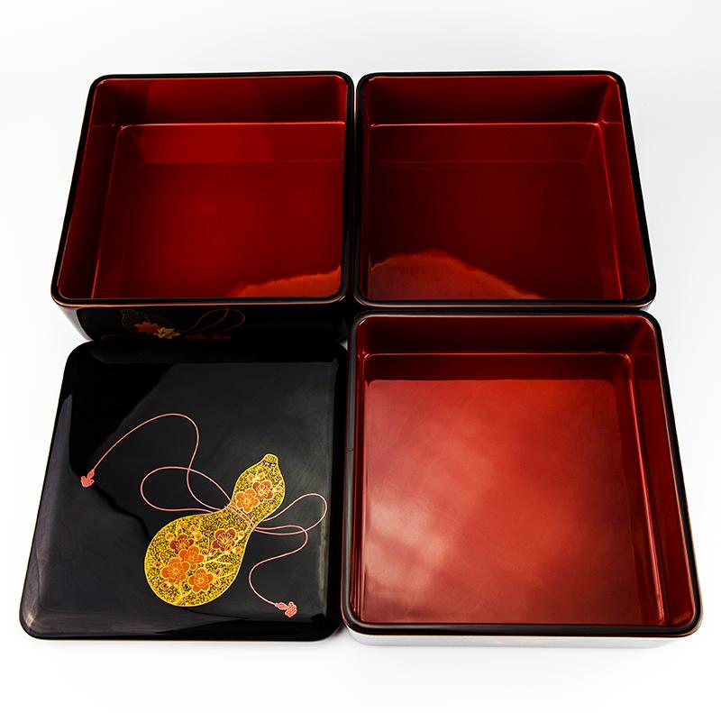越前漆器 瓢 溜内朱 三段重[1組]【お正月】内側の朱色が美しいです