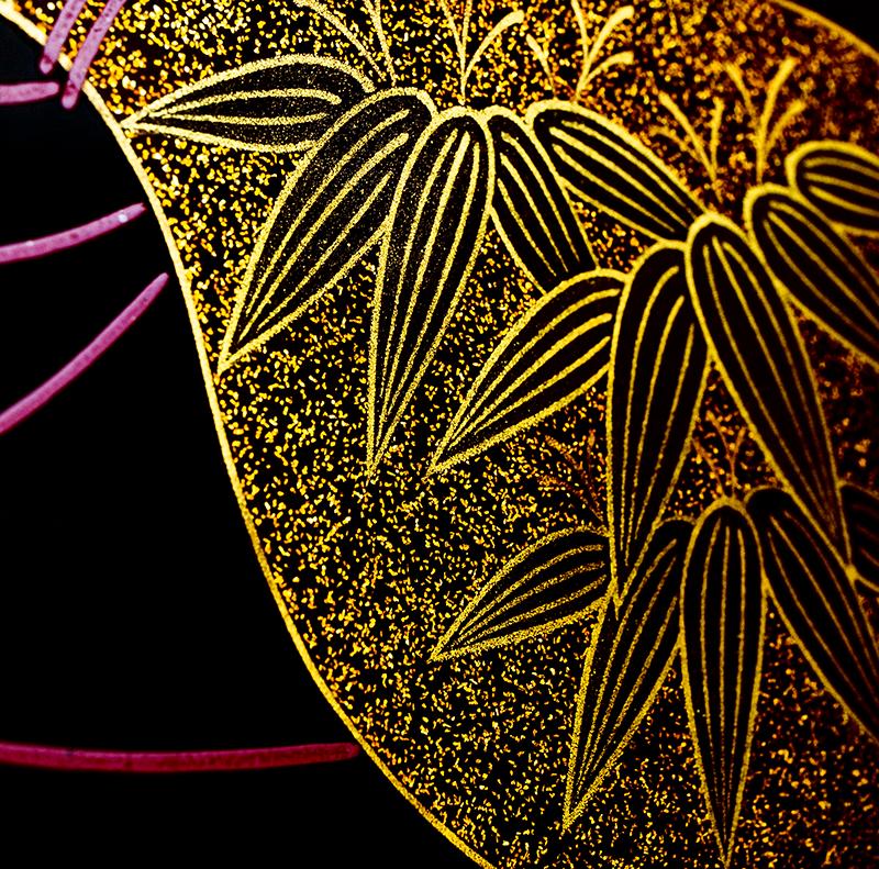 越前漆器 瓢 溜内朱 三段重[1組]【お正月】笹の沈金2