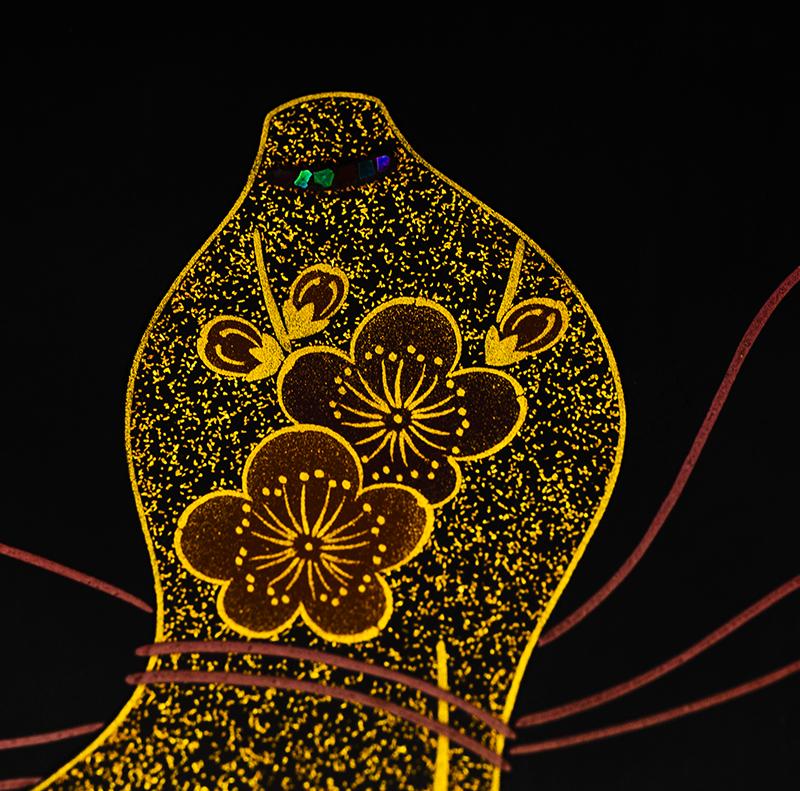 越前漆器 瓢 溜内朱 三段重[1組]【お正月】梅の沈金、おしゃれな螺鈿細工