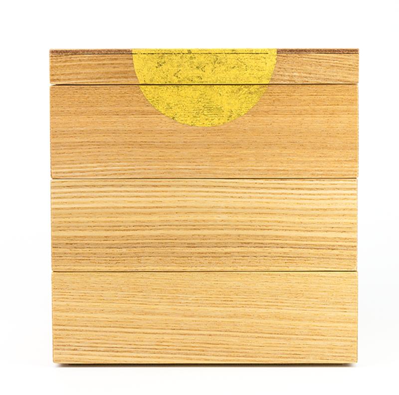 【箔蒔絵】越前漆器 日月蒔絵 タモ 三段重(16.8×16.8×高さ17.0cm)[1組]【お正月】