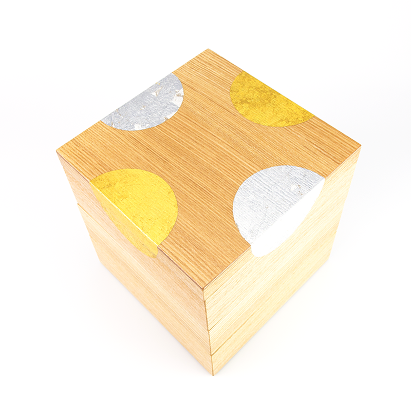 【箔蒔絵】越前塗 日月蒔絵 タモ 三段重(16.8×16.8×高さ17.0cm)[1組]【お正月】