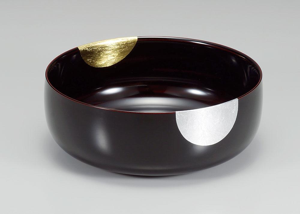 hachi3038 5 - 【箔蒔絵】日月 溜塗(ためぬり)布袋鉢[1個]