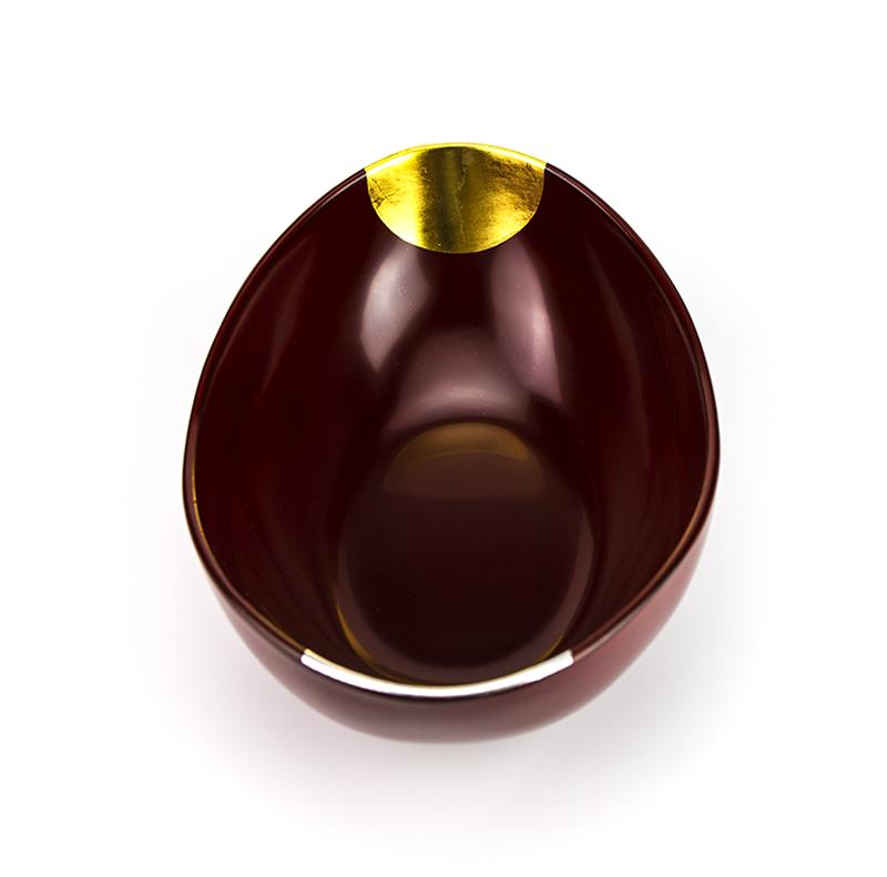 hachi4044 1  01 - 【箔蒔絵】越前塗 日月 古代朱 貴船鉢[1個]