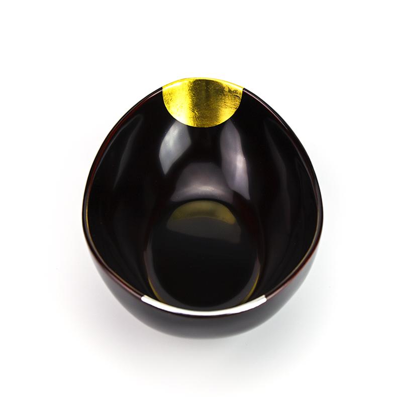 hachi4044 4  01 - 【箔蒔絵】越前塗 日月 溜塗(ためぬり)貴船鉢[1個]