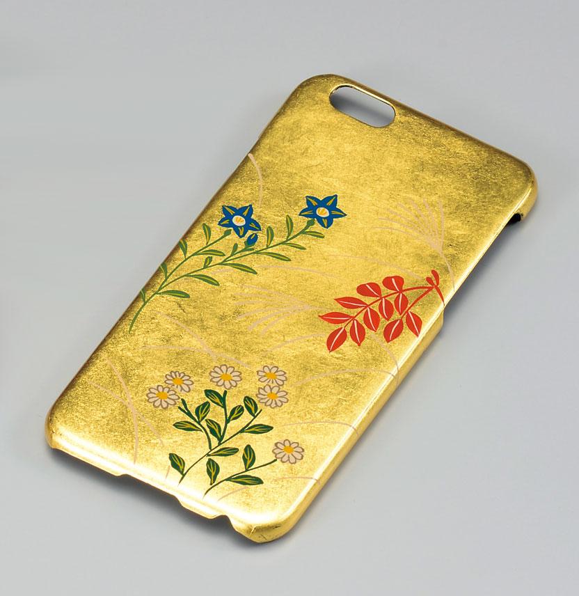 iPhonecase3099 4B - 【箔蒔絵】金箔秋草 iPhoneケース[1個](iPhone8対応スマホケース)