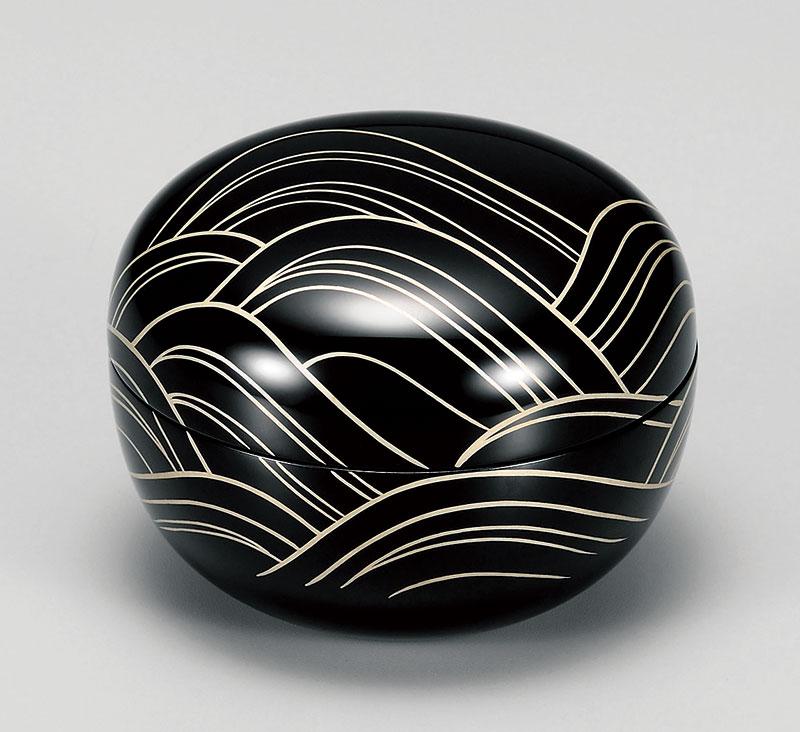 komono3066 7 - 【手描き蒔絵・磨き蒔絵】玉匣(たまくしげ) 黒 光琳波 [1個]