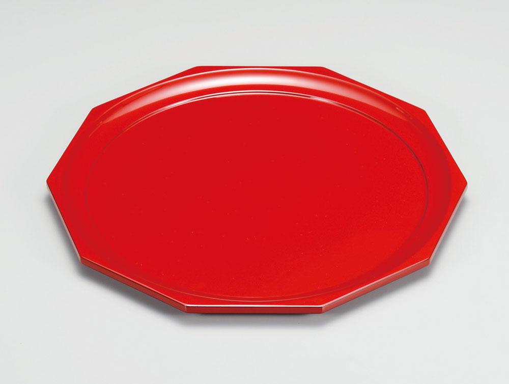 obon3055 2 - 越前塗 朱 十角盆[1枚]