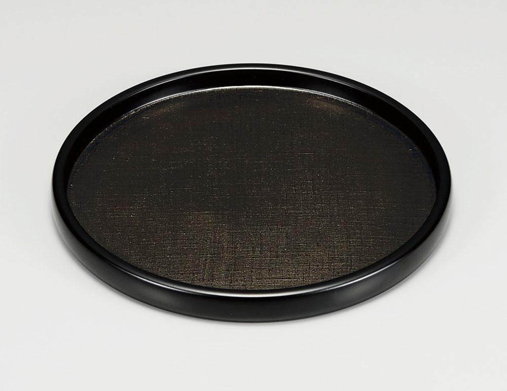 obon3058 2 - 越前塗 能登上布 黒 8寸丸盆 [1枚]