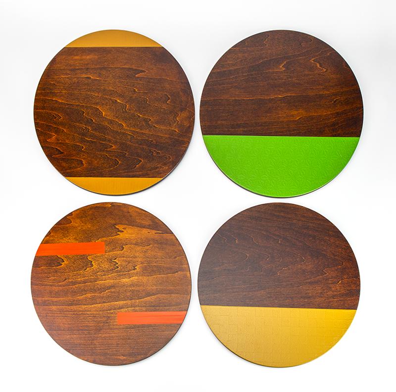 越前塗 丸プレート 市松和紙張り/拭き漆[1枚]プレートの種類は4種類