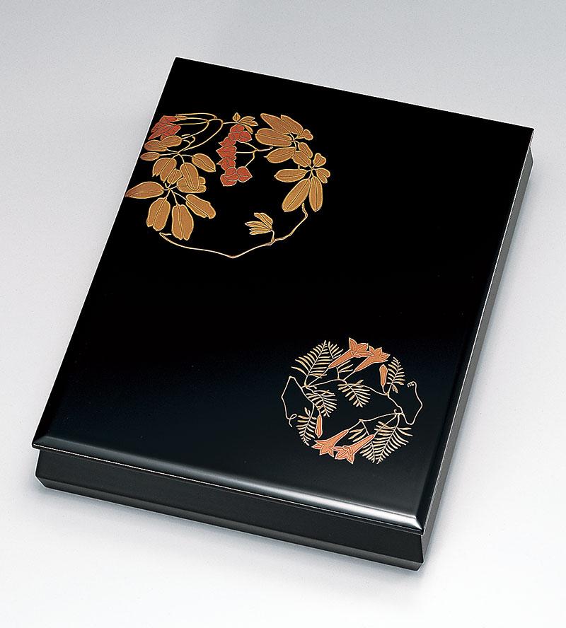 ohako3088 2 - 【手描き蒔絵・磨き蒔絵】草花 文箱[1個]