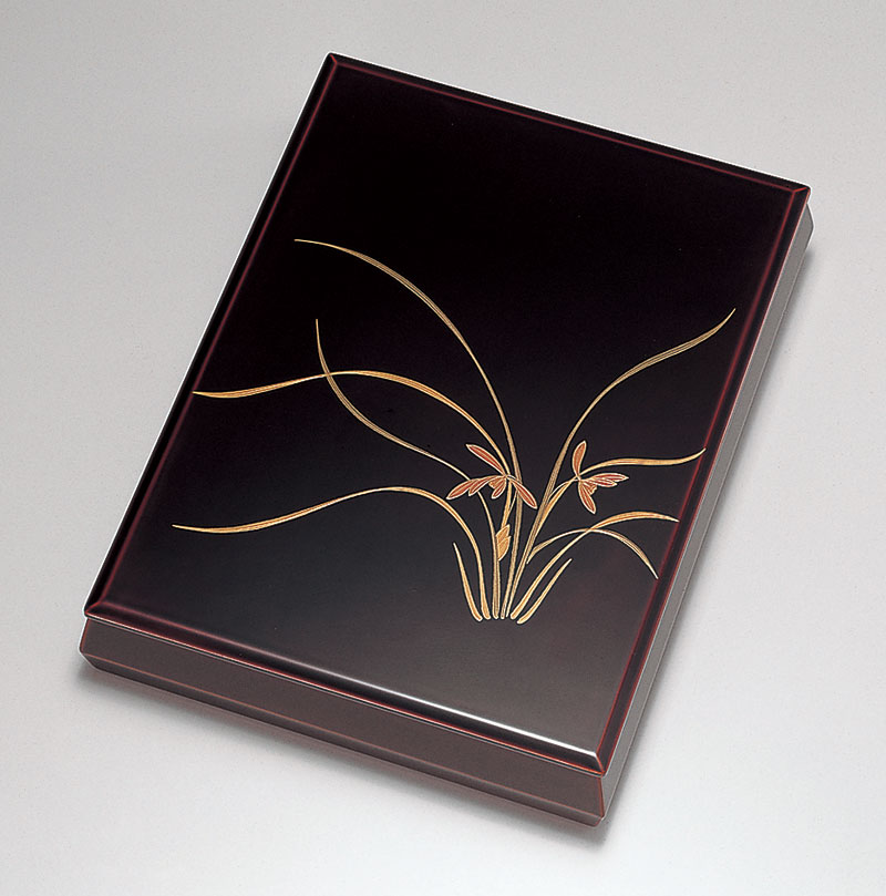 ohako3088 5 - 【手描き蒔絵・磨き蒔絵】蘭 溜塗(ためぬり) 文筥(A4サイズ)[1個]