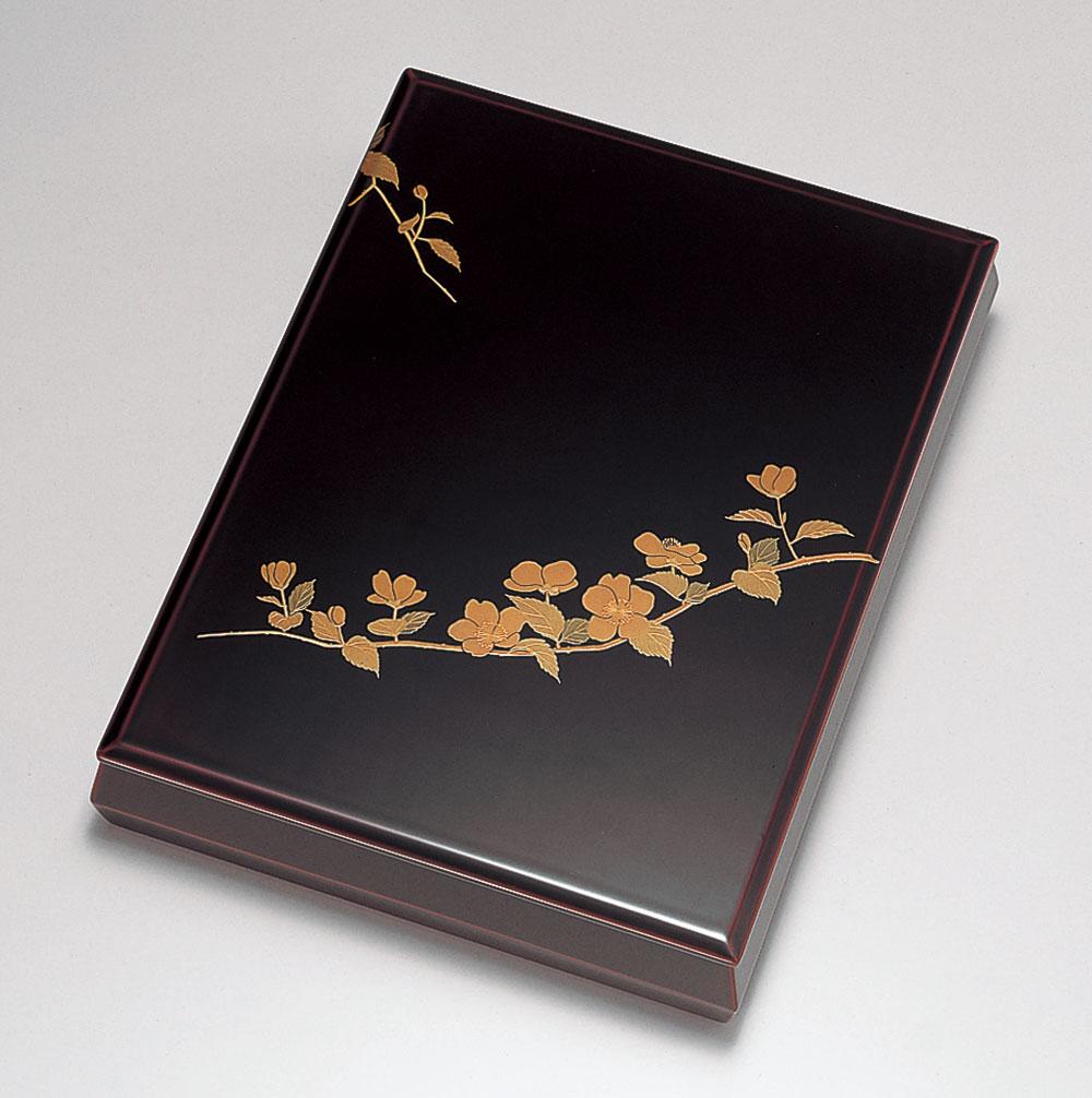 ohako3088 6 - 【手描き蒔絵・磨き蒔絵】山吹 溜塗(ためぬり) 文筥(A4サイズ)[1個]