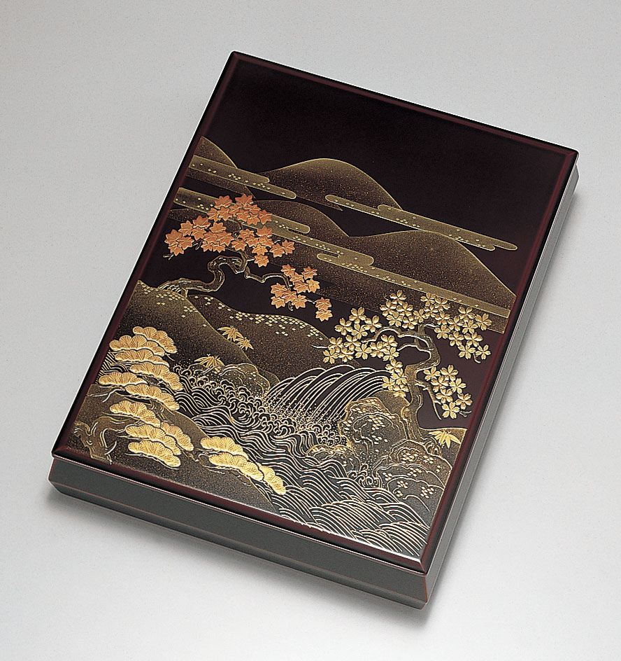 ohako3088 8 - 山水 溜塗(ためぬり) 文筥(A4サイズ)[1個]