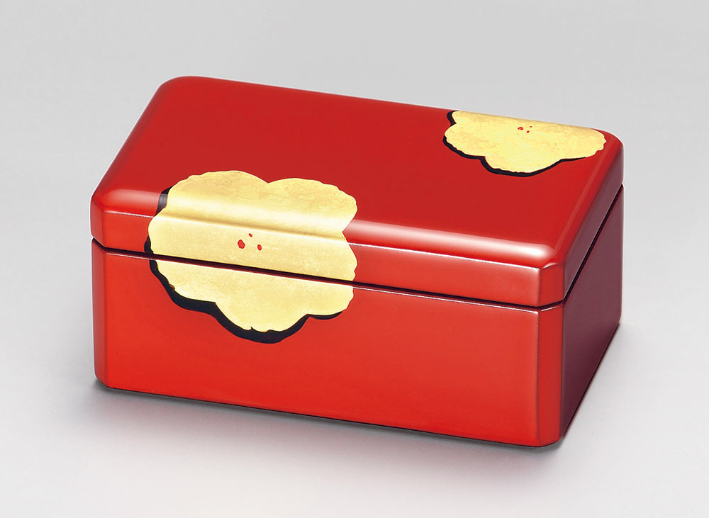 ohako3091 2 - 【箔蒔絵】アクセサリーBOX 朱 金花 [1個]