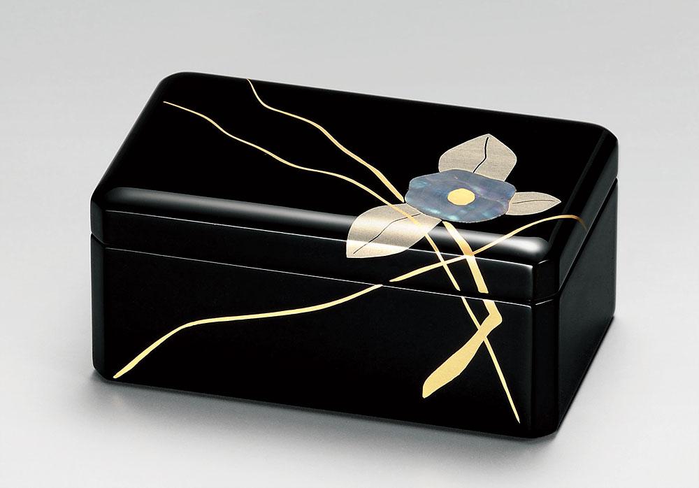 ohako3091 3 - 【手描き蒔絵・消し蒔絵】アクセサリーBOX 黒 貝椿  [1個]