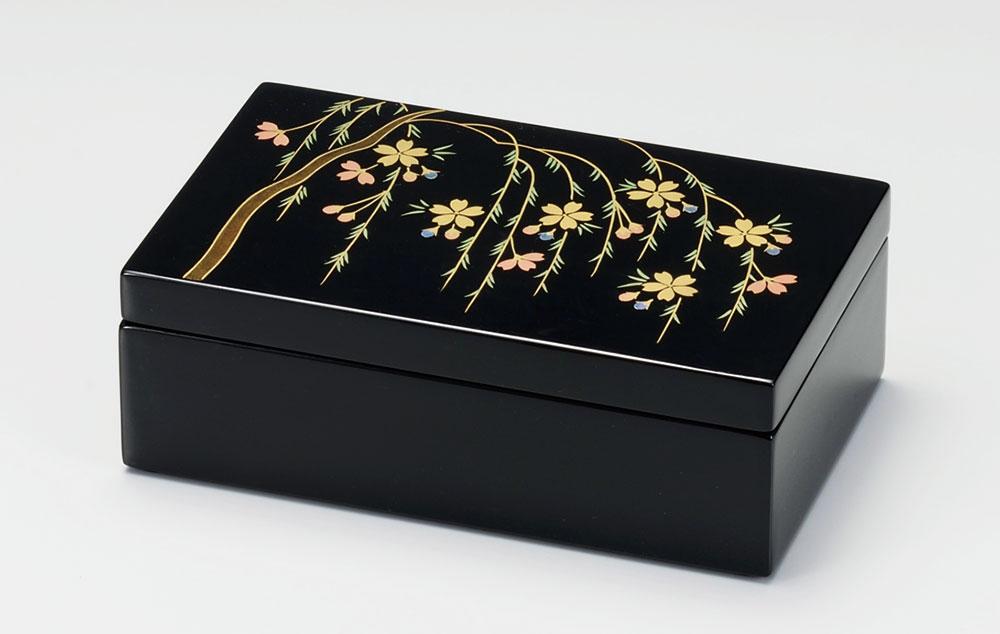 ohako3091 7 - 【手描き蒔絵・消し蒔絵】貝入りしだれ桜 長小筥 [1個]