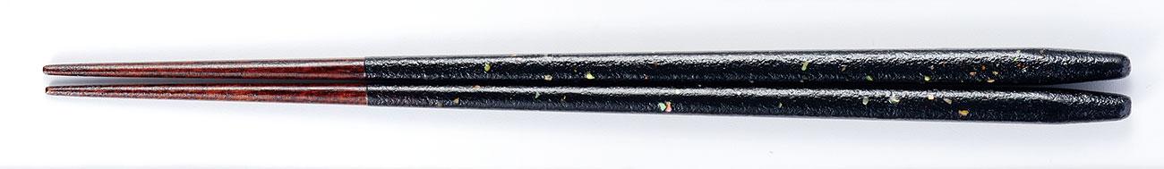 ohashi3084 7 - まるみ箸 乾漆貝ちらし 黒[1膳]