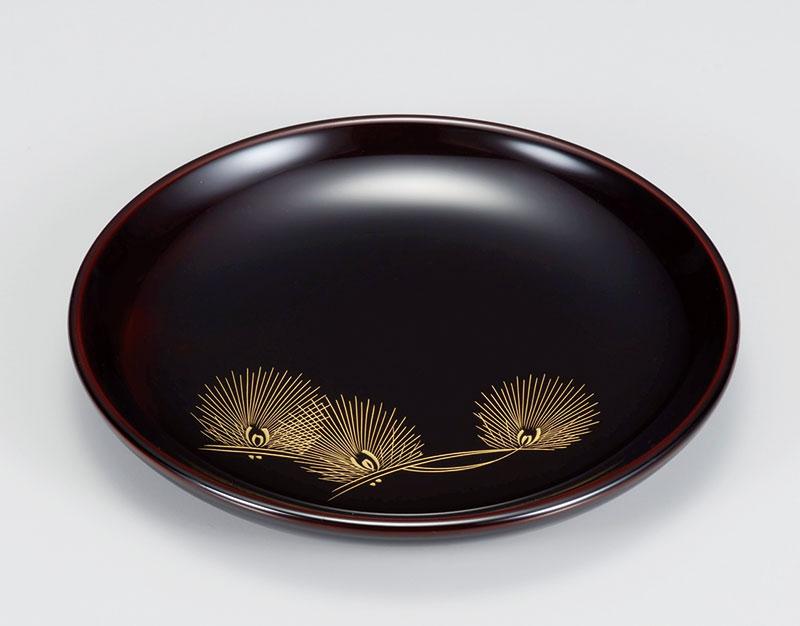 osara3025 3 - 【沈金】華松 溜塗(ためぬり)銘々皿[5枚]