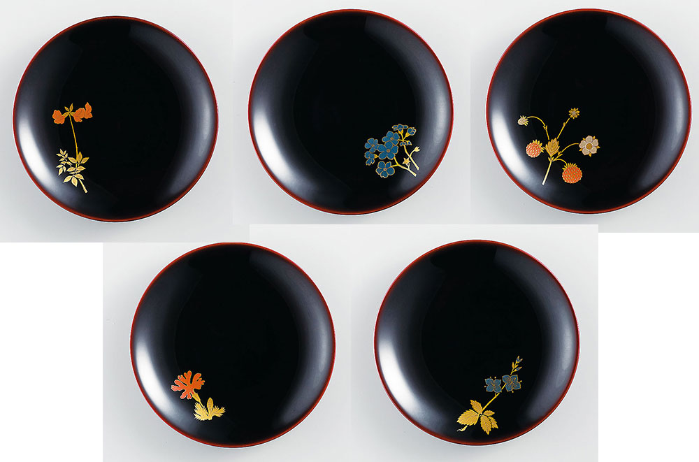 osara3025 5 - 【手描き蒔絵・磨き蒔絵】野の花 銘々皿[5枚]