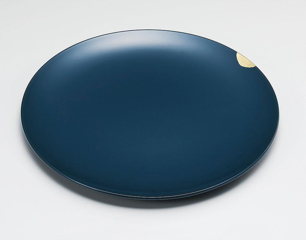 osara3044 1 - 【手描き蒔絵・箔蒔絵】金継皿 青[1枚]
