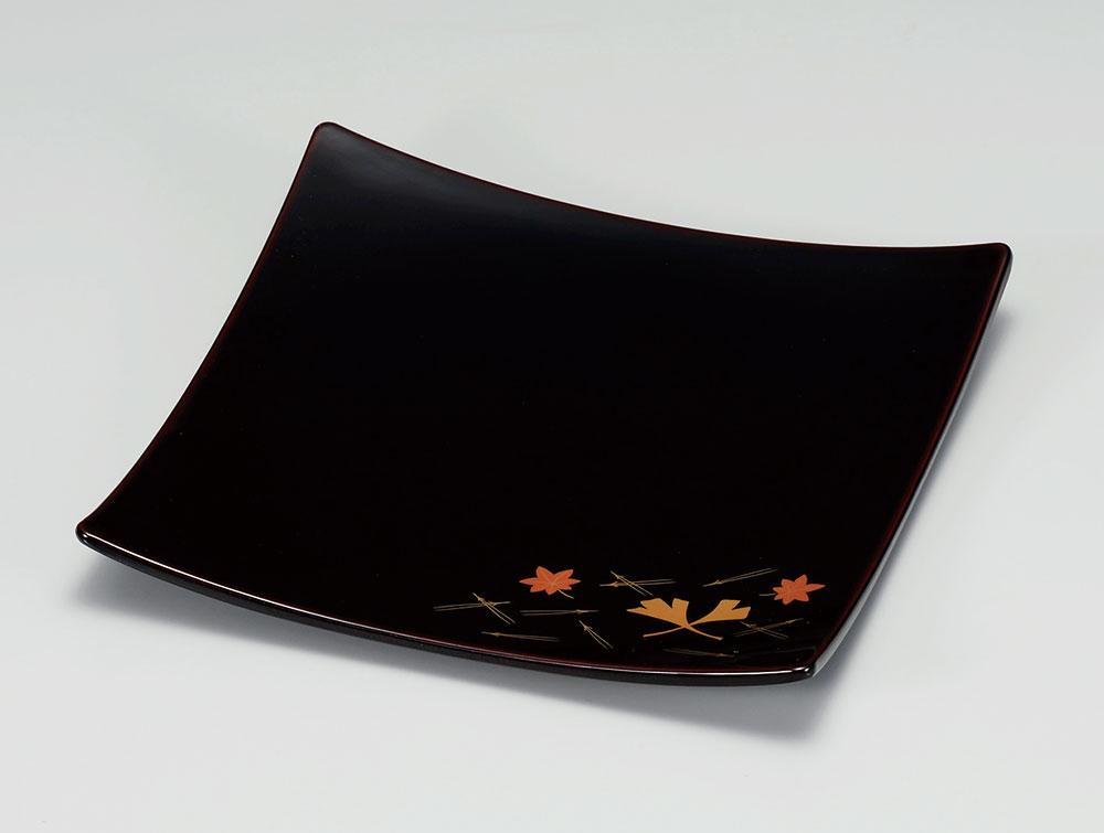 osara3046 2 - 【手描き蒔絵・磨き蒔絵】吹き寄せ 溜塗(ためぬり)弥生皿[1枚]