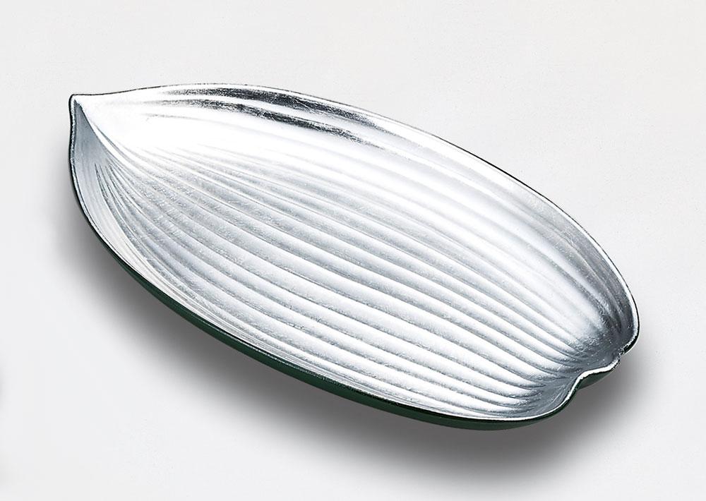 osara3046 4B - みどり銀箔 笹盛皿[1枚]