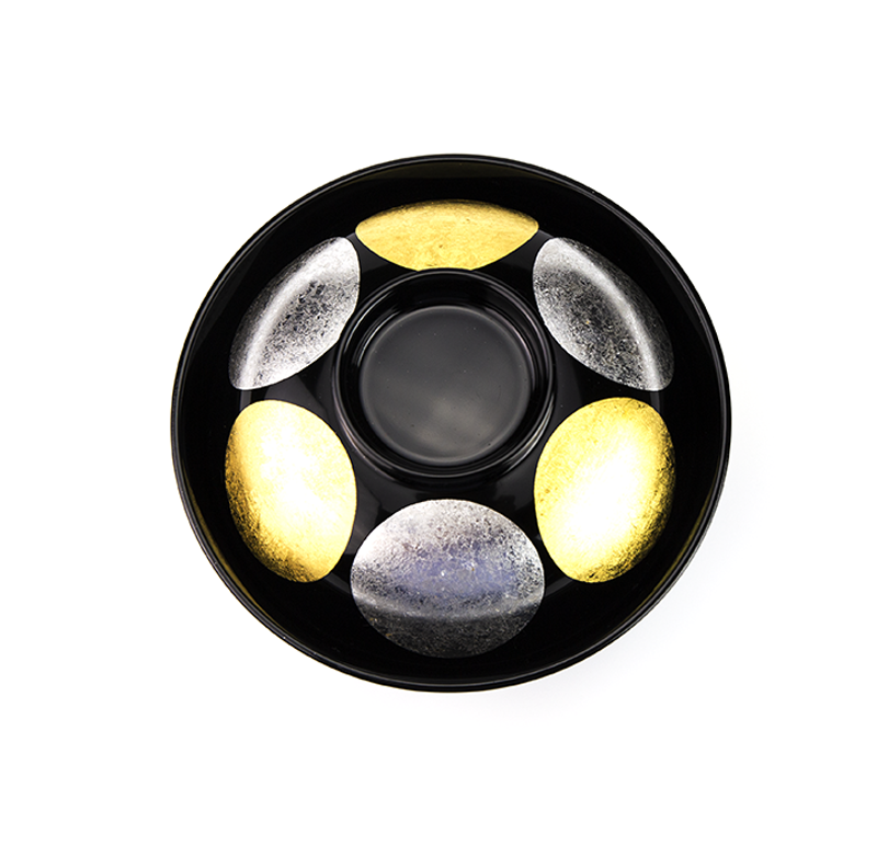 【手描き蒔絵・消し蒔絵】越前塗 日月 吸物椀[5客]上部